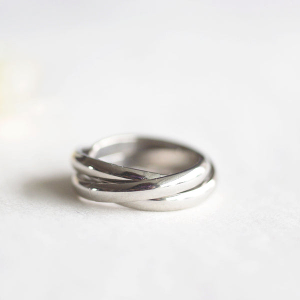 Overlap Ring - Steel Silver
