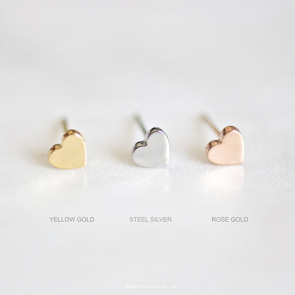 Tiny heart Stud Earrings - 3 colours & titanium