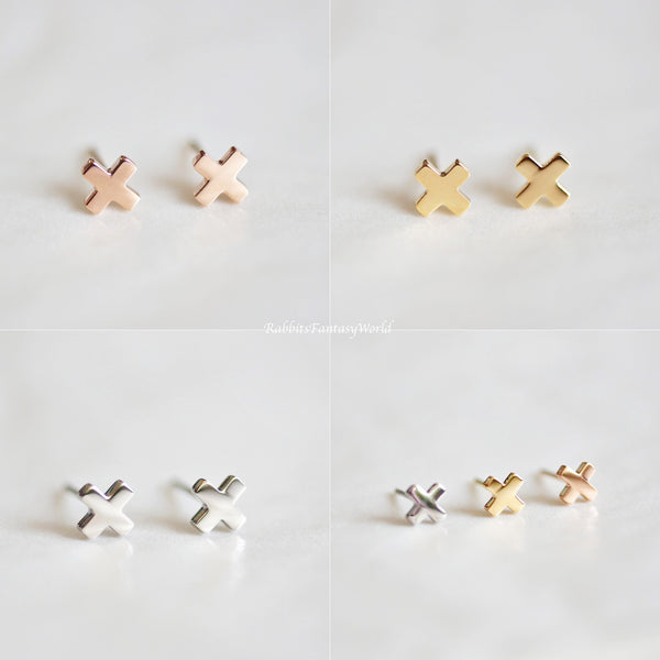 Cross Stud Earrings - 3 colours - Titanium