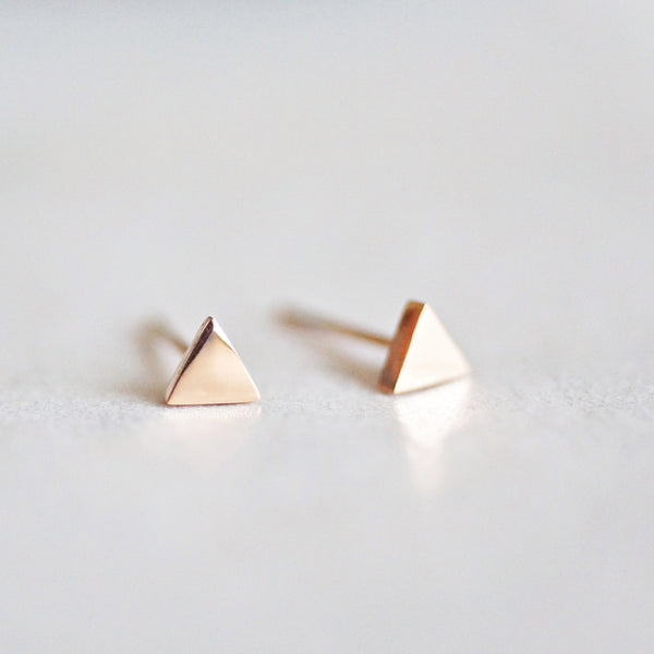 Triangle Stud Earrings - rose gold - 2 sizes