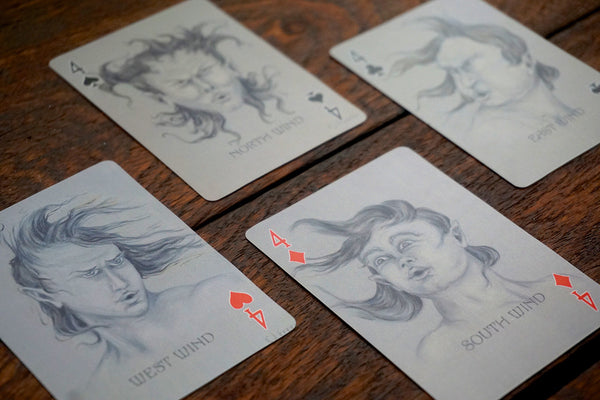 "the four ""wind cards,"" playing card oracle alchemy edition deck, c.j. freeman"
