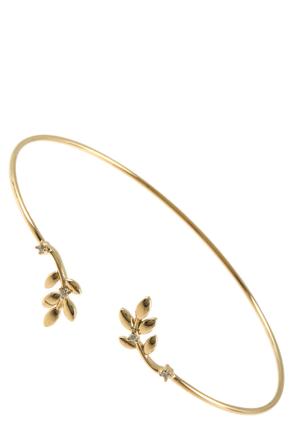 Leaf Charm Accent Cuff Bracelet