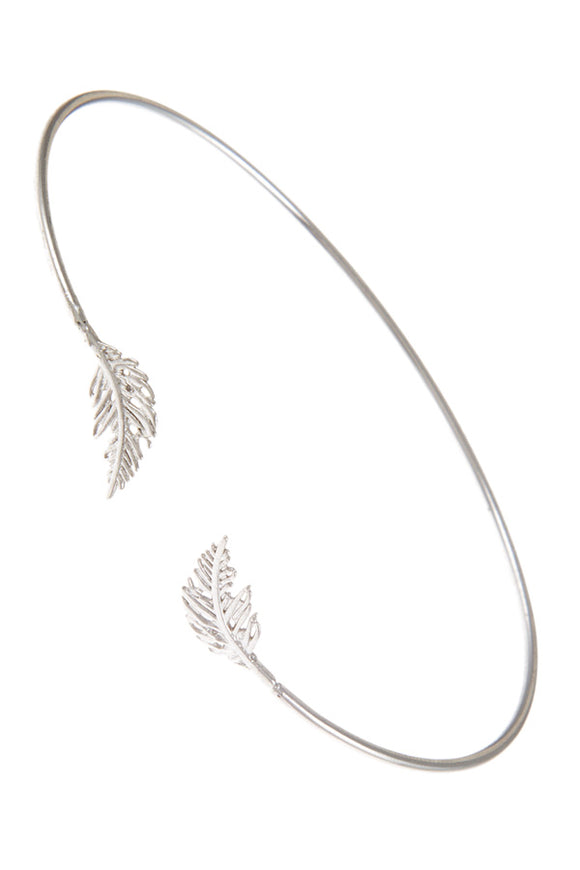 Leaves Charm Delicate Open Bangle