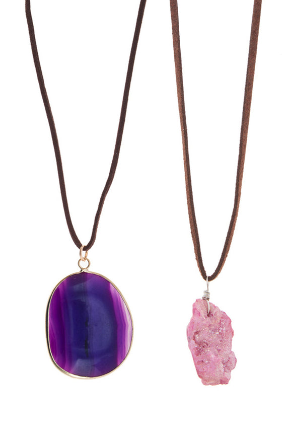 D&K Monarchy Colorful Quartz Natural Stone Necklaces