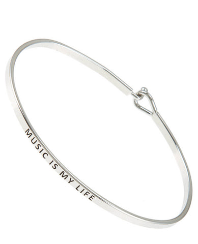 "D&K Monarchy Brass ""Music Is My Life"" Etched Skinny Bracelet"