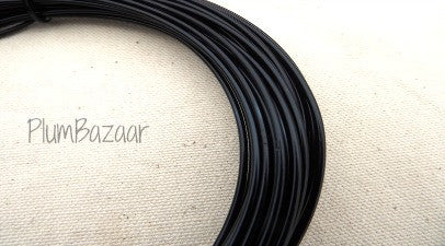 12 gauge aluminum craft and jewelry wire, 2mm round, 39 ft., black