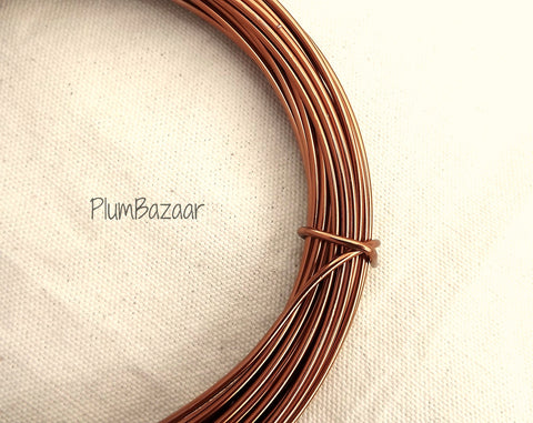 12 gauge aluminum craft and jewelry wire, 2mm round, 39 ft., antique copper