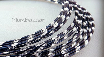 Aluminum wire, round 12 gauge 2mm, 32 ft., diamond cut, black and silver