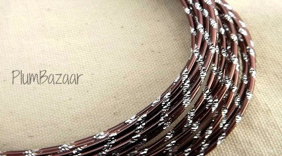 Aluminum wire, round 12 gauge 2mm, 32 ft., diamond cut, brown and silver