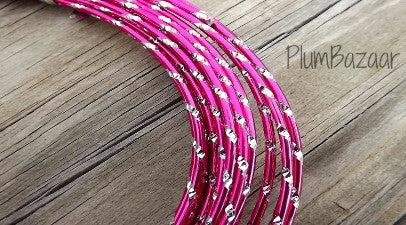 Aluminum wire, round 12 gauge 2mm, 32 ft., diamond cut, hot pink and silver