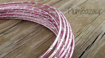 Aluminum wire, round 12 gauge 2mm, 32 ft., diamond cut, pink and silver
