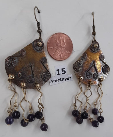 Fast, Free Shipping from Branson, MO. Metal & Amethyst bead earrings