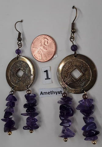 Fast, Free Shipping. Metal and amethyst earrings.