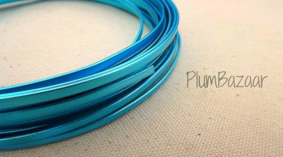 Aluminum wire for jewelry or crafts, 4mm flat, 25 ft. coil, turquoise