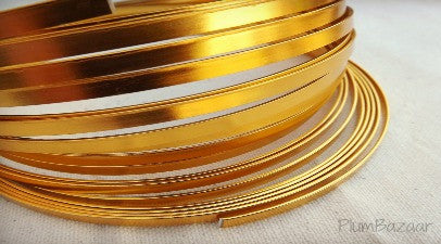 Aluminum wire for jewelry or crafts, 5mm flat, 24 ft. coil, bright gold