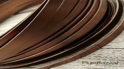 Aluminum wire for jewelry or crafts, 5mm flat, 24 ft. coil, brown