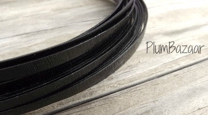 Aluminum wire for jewelry or crafts, 5mm flat embossed, 16 ft. coil, black