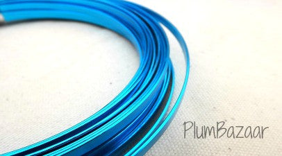 "5mm1(3/64"") Flat Aluminum wire for jewelry or crafts, 24 ft. coil, turquoise"