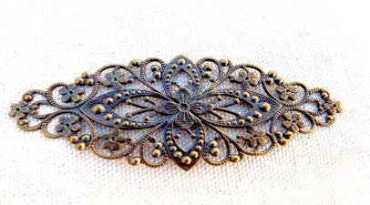 Large metal filigree bracelet blanks, antiqued brass color, set of 2