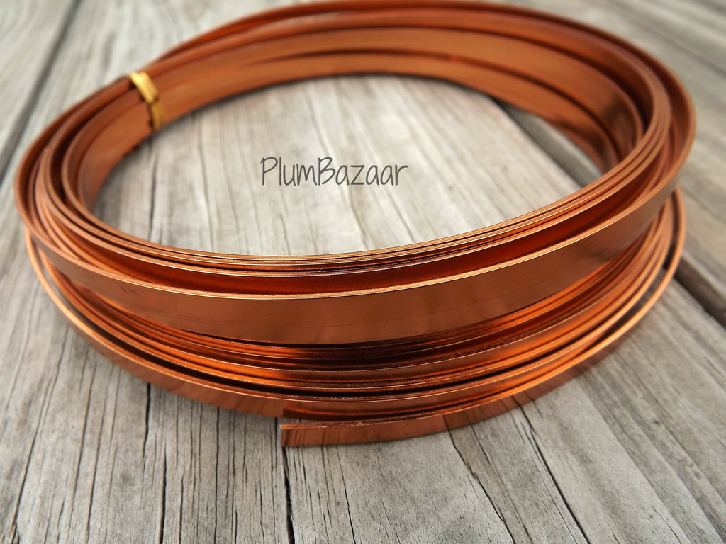 Aluminum wire for jewelry or crafts, 5mm flat, 24 ft. coil, copper color