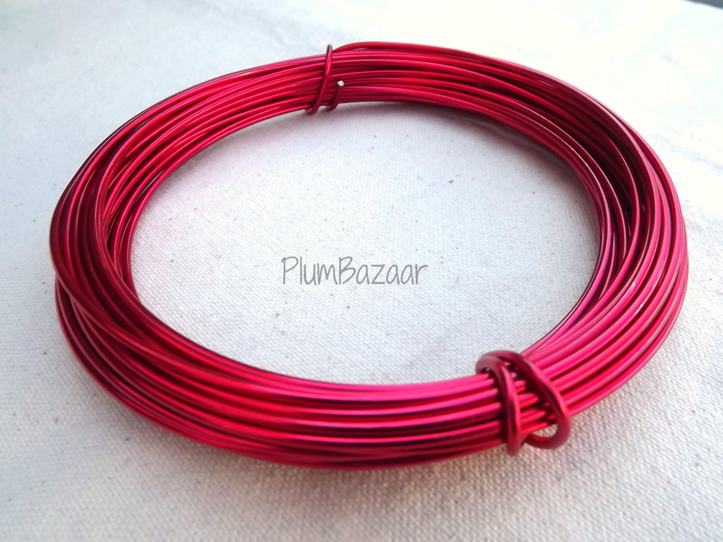 12 gauge aluminum craft and jewelry wire, 2mm round, 39 ft., hot pink