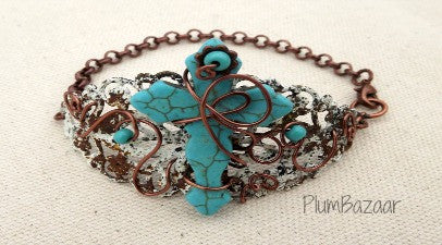 Rustic filigree bracelet with turquoise blue stone cross
