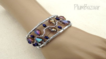 Wire wrapped cuff bracelet, silver, lilac and purple, adjustable