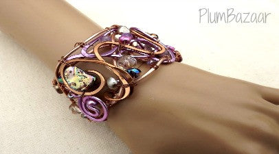 Wire wrapped and beaded cuff bracelet, lilac and soft brown, adjustable