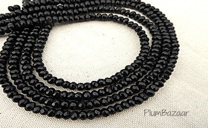 "Obsidian beads, 4mm faceted round, 15"" strand"