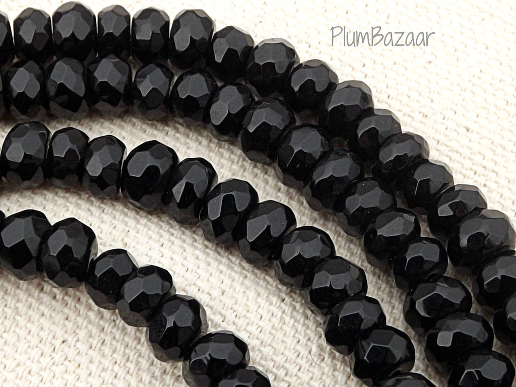 "Obsidian beads, 6mm faceted rondelle spacer beads, 15"" strand"