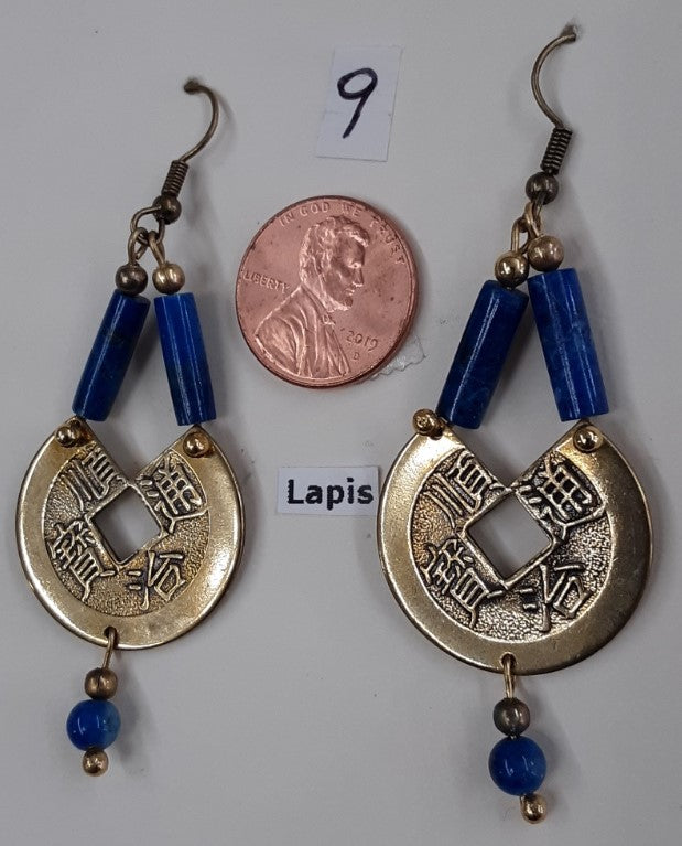 Fast, Free shipping, Metal coin and Lapis bead Earrings, Nickel free ear wires