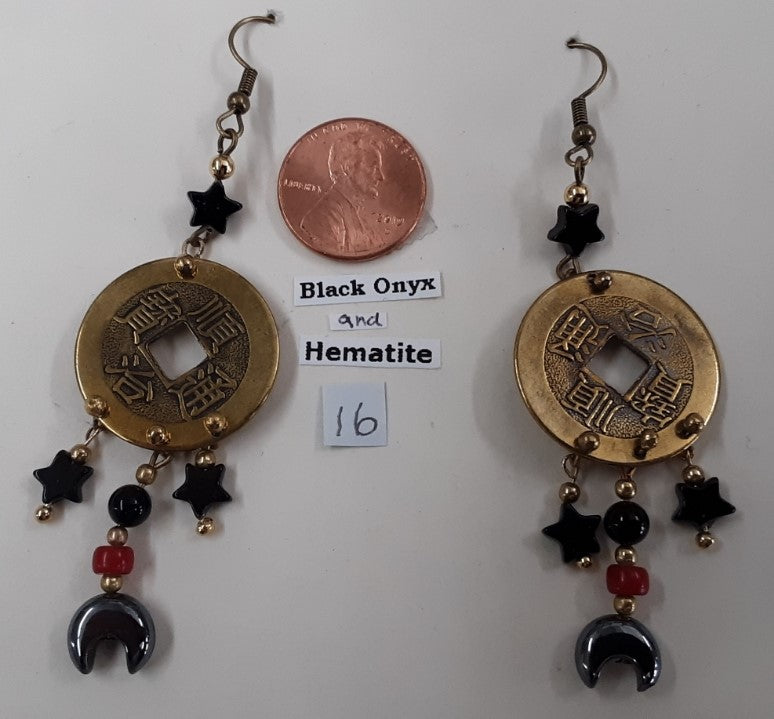 Fast, Free Shipping, Metal coin, Black Onyx & Hematite Bead Earrings, Nickel Free ear wires