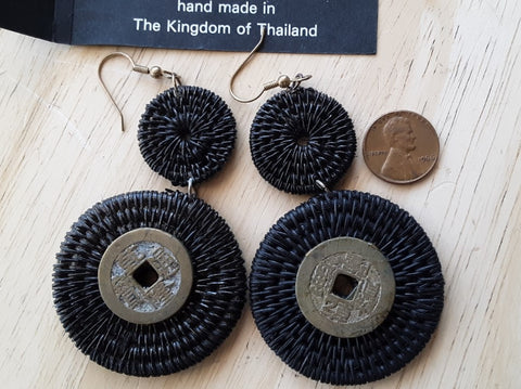 Earrings from Thailand, Fast Free Shipping from Branson, MO! Handwoven with coins attached