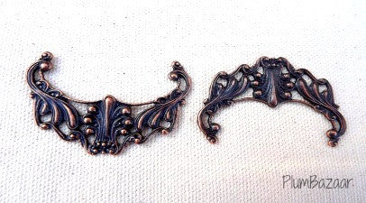 Vintage inspired antique copper plated filigree, pendant or necklace connector, set of 2