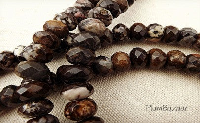 Faceted stone beads, rondelle shape, beautiful shades of brown