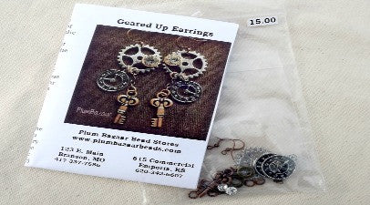Steampunk earrings jewelry kit, all parts included