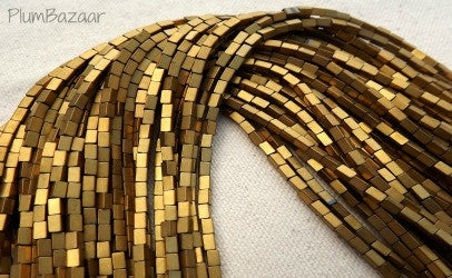 "Gold metallic hematite rectangle beads, two 10"" strands"