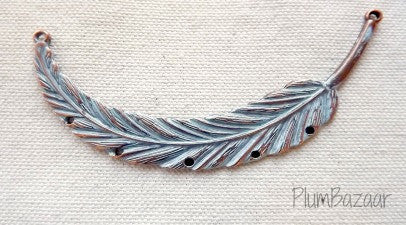Hand painted vintage inspired antique copper plated feather, pendant or necklace connector, ice blue