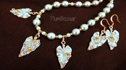 Handmade necklace and earrings set, vintage glass pearls and hand painted leaves