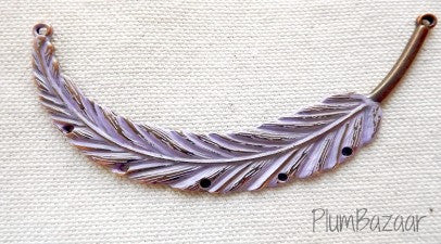 Hand painted vintage inspired antique copper plated feather, pendant or necklace connector, lavender