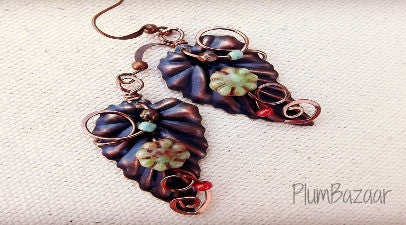 Wire wrapped and beaded leaf earrings