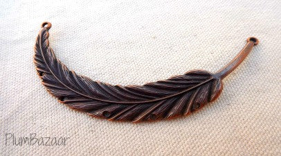 Vintage inspired antique copper plated feather, pendant or necklace connector with pre-drilled holes