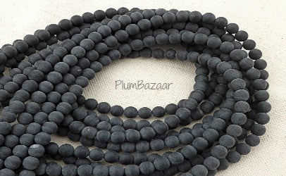 Matte onyx round beads, charcoal gray, 6mm