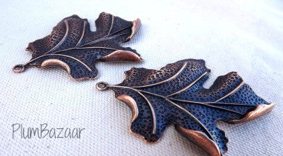 Large leaf pendants for jewelry making, set of 2, antique copper plated metal