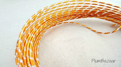 Aluminum wire, round 12 gauge 2mm, 32 ft., diamond cut, orange and silver