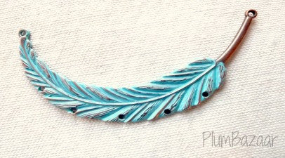 Hand painted vintage inspired antique copper plated feather, pendant or necklace connector, turquoise blue