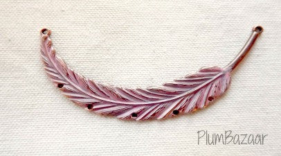Hand painted vintage inspired antique copper plated feather, pendant or necklace connector, pink