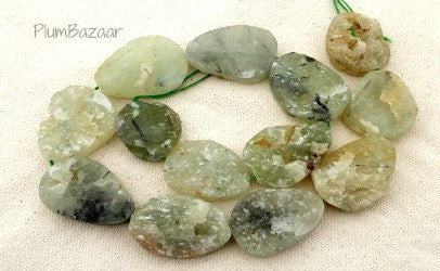Prehnite rough cut oval beads