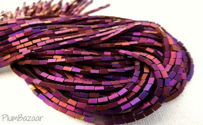 "Purple metallic hematite rectangle beads, two 10"" strands"