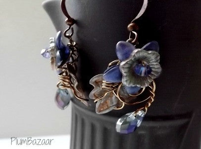 Delicate wire wrapped earrings with crystals and hand painted flowers